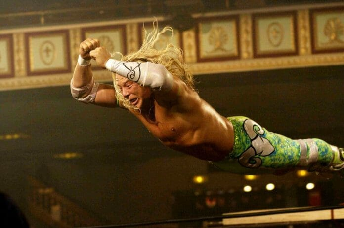 In the movie The Wrestler (2008), actor Mickey Rourke, in a performance of a lifetime, stars as Randy