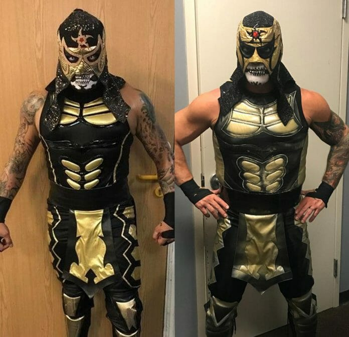 Pentagon on the left, Chris Jericho on the right backstage at All In. It is amazing how well Jericho's costume turned out under the circumstances.