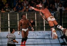 The Ultimate Warrior glides in the air towards his opponent, Orlando Jordan, in what would be Warrior's final-ever match. Nu Wrestling Evolution, Barcelona, Spain, June 25, 2008.