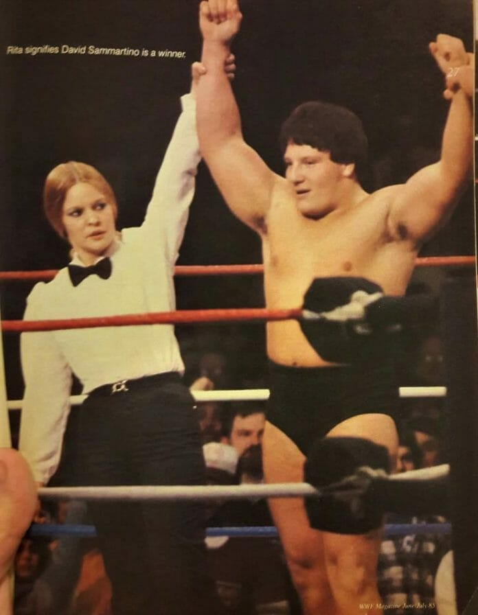 From the June/July 1985 issue of WWF Magazine, Rita Chatterton (Rita Marie) was the WWF's first female referee.