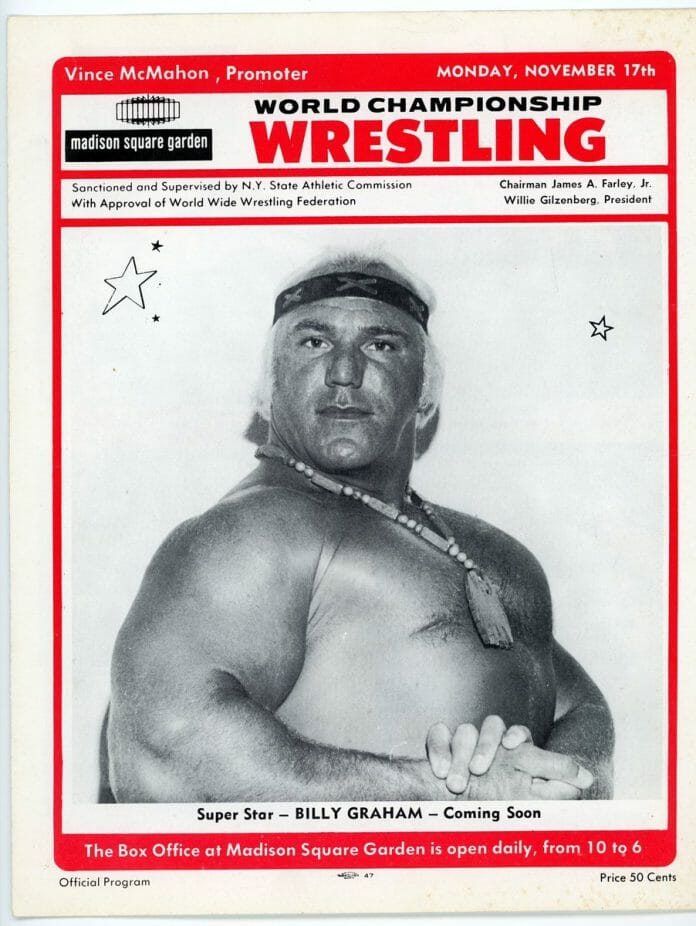 A WWWF program hyping the soon-to-arrive Superstar Billy Graham to MSG.