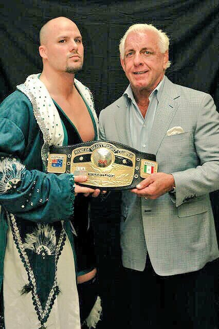 "NWA World Champion ""Scrap Iron"" Adam Pearce with NWA legend, Ric Flair"