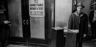 A friendly ticket collector greets fans just inside Sunnyside Garden Arena. [Photographer/Copyrighted by: Arthur Nager, author of the book Wrestling at Sunnyside Garden Arena.]