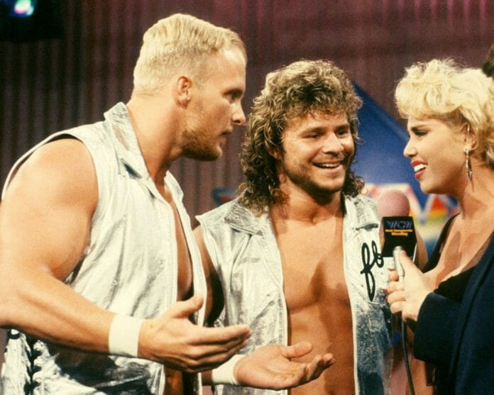 """The Hollywood Blonds"" Steve Austin and Brian Pillman Confront Missy Hyatt"