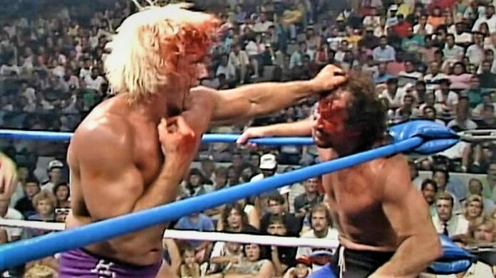 Who wore the crimson mask better? Ric Flair and Terry Funk were just commencing their bloody feud at The Great American Bash '89.