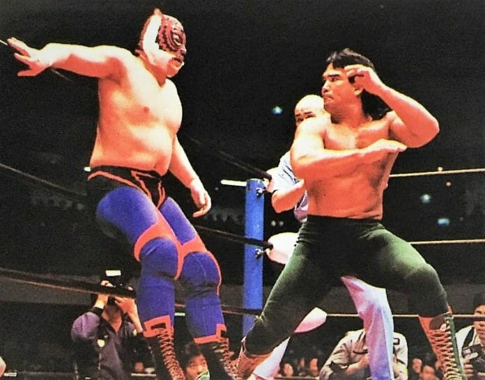 Wrestling as Tiger Mask II, Mitsuharu Misawa faced top opponents like Ricky