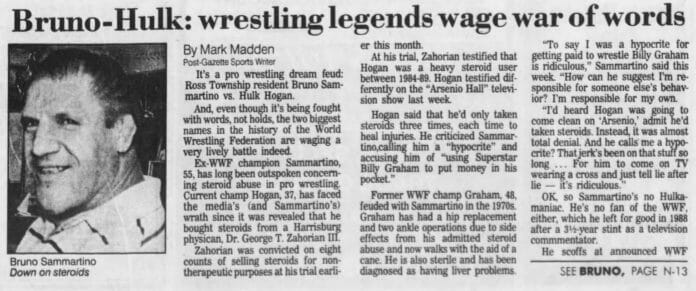 The fateful Pittsburgh Post-Gazette article from Mark Madden that would lead to a feud with Bruno Sammartino (Bruno's comments about David were featured on the jump)