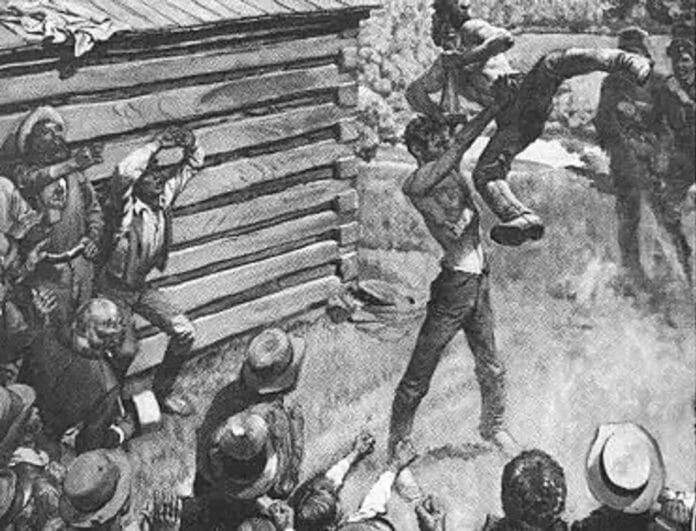 Abraham Lincoln preparing to send Jack Armstrong all the way to hell! Chokeslam! | The History of This Iconic Wrestling Move