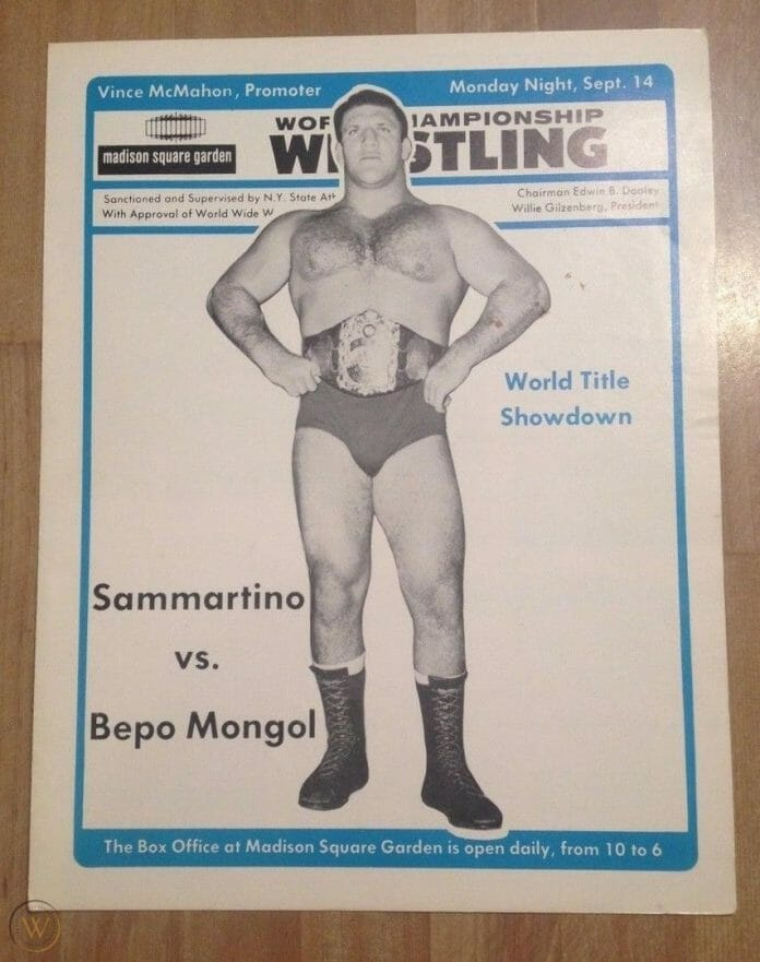 """World Title Showdown!"" A WWWF program hyping the matchup of Bruno Sammartino vs. Bepo Mongol at MSG."