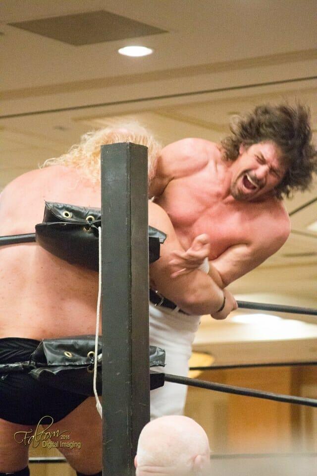 A photo of Sam Houston wrestling in 2018.