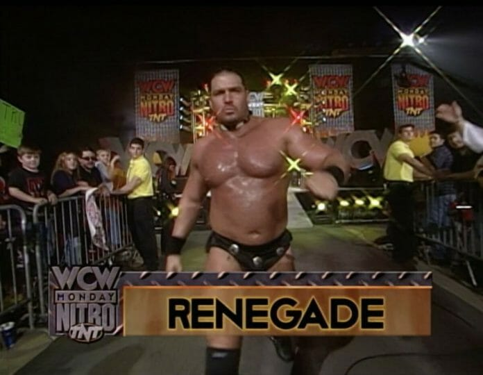 The Renegade makes his entrance just prior to his final-ever wrestling match on December 7, 1998's episode of WCW Monday Nitro.
