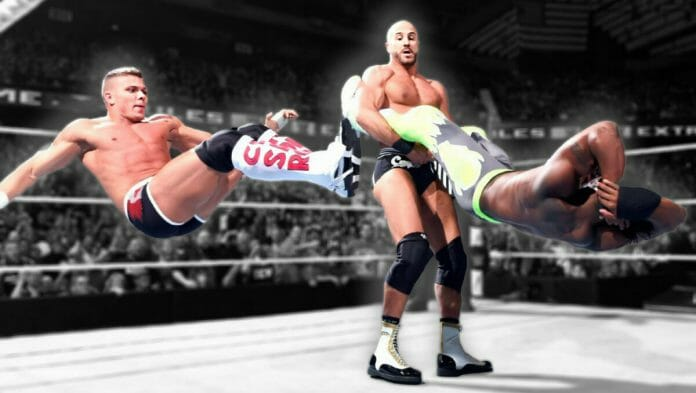 Tyson Kidd and Cesaro with some tandem offense on Kofi Kingston.