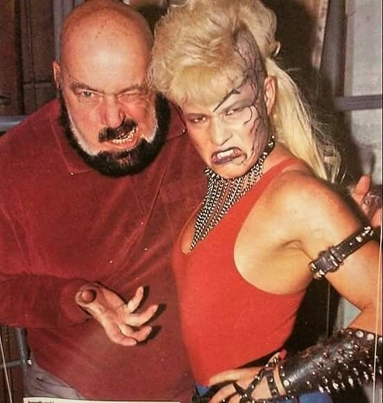 """Luna Vachon with her step-father, Paul """"The Butcher"""" Vachon."""