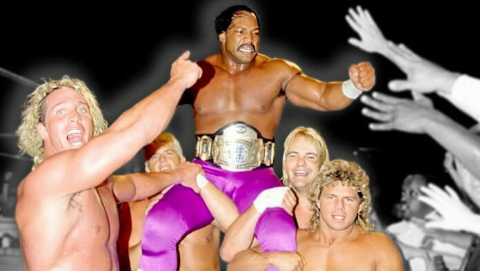 Ron Simmons gets hoisted up in celebration after winning the WCW World Heavyweight Championship on August 2, 1992.
