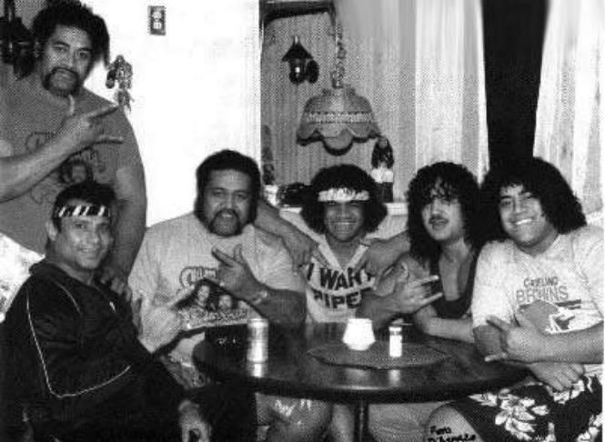 Samoan wrestling dynasty. From left to right: Sika, Jimmy Snuka, Afa, Sam Fatu, Samu, and Fatu (a young Rikishi).