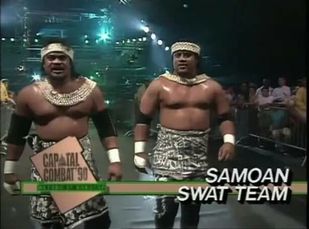 Sam Fatu and his twin brother Fatu as part of the WCW tag team, The Samoan Swat Team.