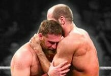 Sami Zayn and Cesaro embrace after their match at NXT Arrival, February 27, 2014.