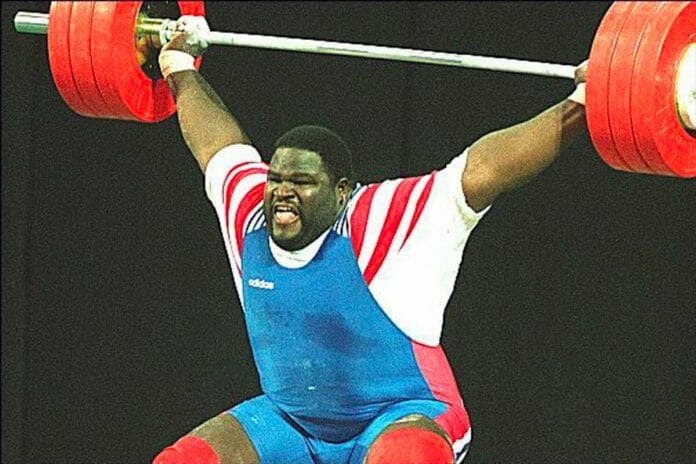 Mark Henry in action at the Georgia World Congress Center at the 1996 Centennial Olympic Games in Atlanta, Georgia, July 30th, 1996.