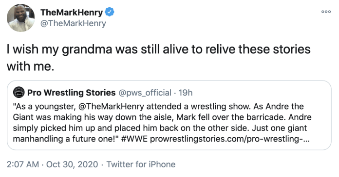 Mark Henry writes a sweet tweet about his grandmother after reading his article on Pro Wrestling Stories.