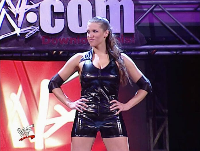 Stephanie McMahon makes her entrance before her WWE Undisputed Championship match against Triple H and Chris Jericho, Monday Night Raw, March 25th, 2002.