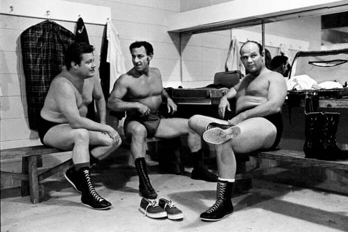From left to right: Buddy Wayne, Len Rossi, and Johnny Walker in the dressing room of the Agricultural Coliseum in Huntsville, Alabama, in 1969.