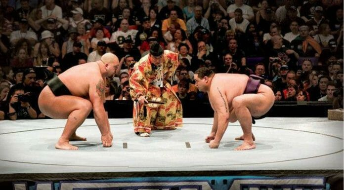 Big Show faces off against Akebono in a sumo showdown at WrestleMania 21.