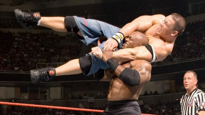 Bobby Lashley takes John Cena for a ride at 2007's WWE Great American Bash pay-per-view.