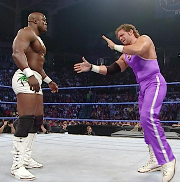 Bobby Lashley during his WWE debut against Simon Dean.