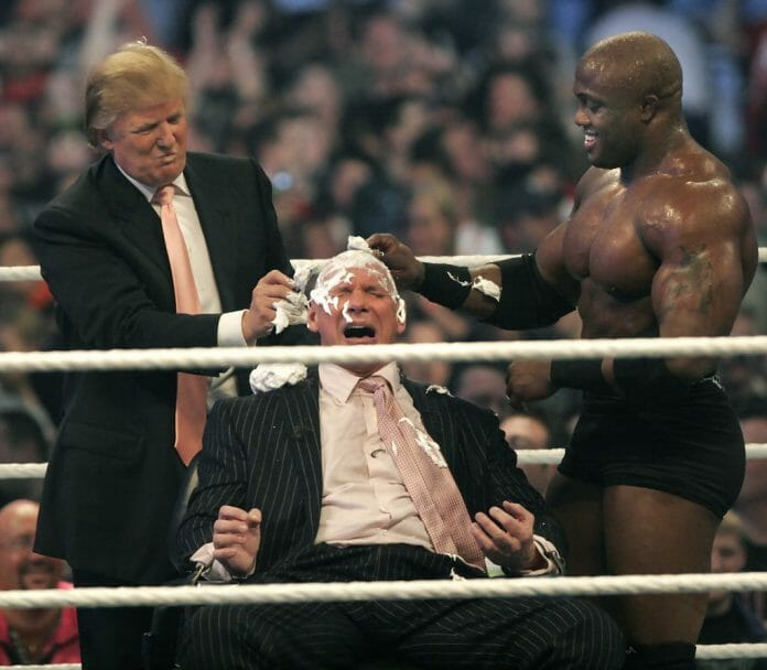 WWE chairman Vince McMahon has his head shaved by Trump and Bobby Lashley after losing a bet in the Battle of the Billionaires at WrestleMania on April 1st, 2007 in Detroit, Michigan. Umaga was representing McMahon in the match when he lost to Bobby Lashley who was representing Trump.