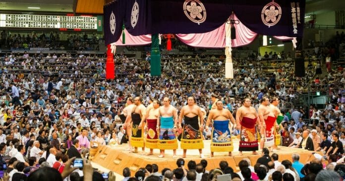 A photo from a recent Grand Sumo Tournament.