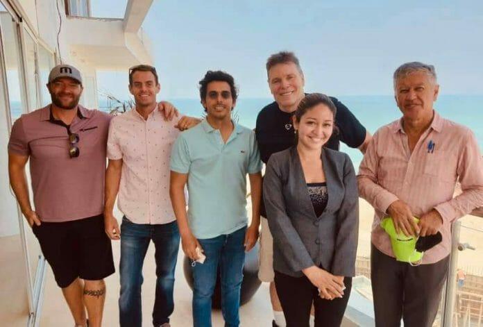 Lanny Poffo alongside his friends, the people behind Ecuadorian Coastal Properties.