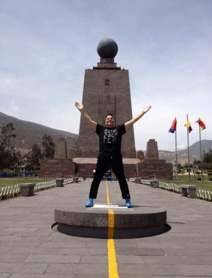 Lanny Poffo visits the equator in Ciudad Mitad Del Mundo.