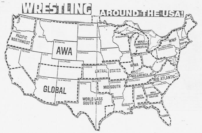 Map showing the location of many NWA wrestling territories.