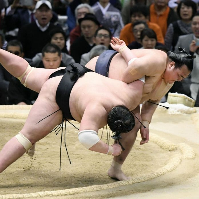 Wrestlers compete at a sumo tournament in Osaka, Japan, March 2017.