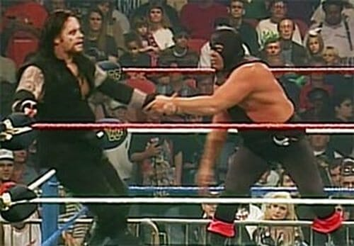 "Terry Gordy in his only WWE pay-per-view appearance against the Undertaker as ""The Executioner."""