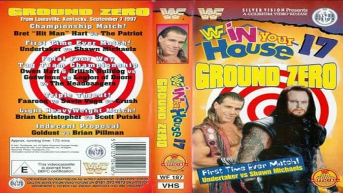 WWE In Your House 17: Ground Zero pay-per-view match card.