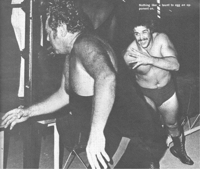 Lou Klein (left) takes on Mickey Doyle in one of his early matches in Michigan. Klein passed away in 1979. [Original photographer: G. J. Rowell. Photo originally appeared in the Jan.-Feb. '72 issue of Wrestling World magazine.]