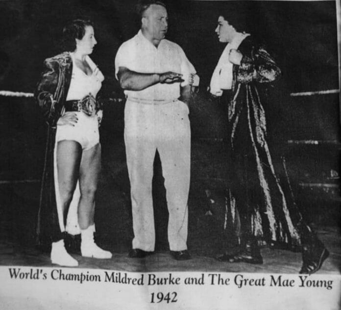 Mildred Burke will undoubtedly have her hands full against the hard as nails Mae Young.