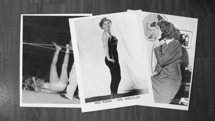 Various photos of Mae Young in and out of the squared circle.