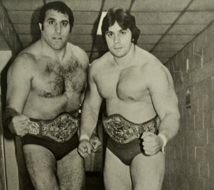 Dominic DeNucci and Dino Bravo as the WWWF World Tag Team Champions back in 1978.