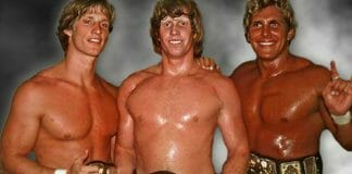 Lance Von Erich (right) alongside his on-screen family, Kevin and Mike Von Erich, in 1986.