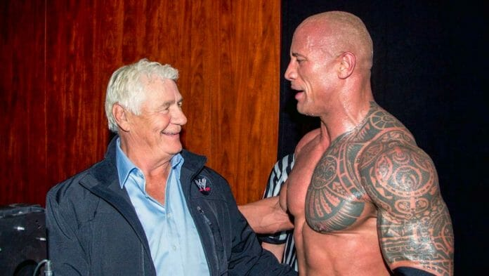 "Pat Patterson and Dwayne ""The Rock"" Johnson backstage."