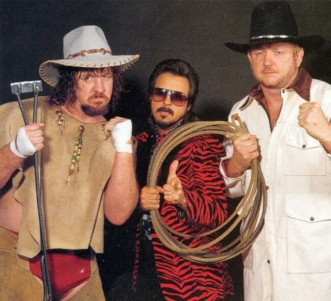 Terry and Hoss Funk with manager Jimmy Hart.