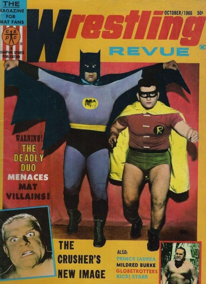 The Battman and Robin grace the front cover of Wrestling Revue (May 1966 issue).