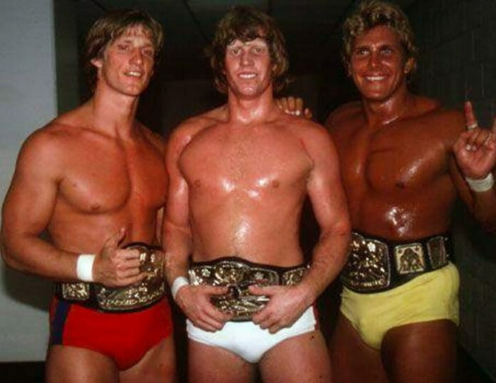 Lance Von Erich (right) alongside his on-screen family, Kevin and Mike Von Erich in 1986.