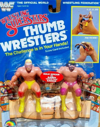 "WWF Wrestling Superstars Thumb Wrestlers. - ""The Challenge is in Your Hands!"""