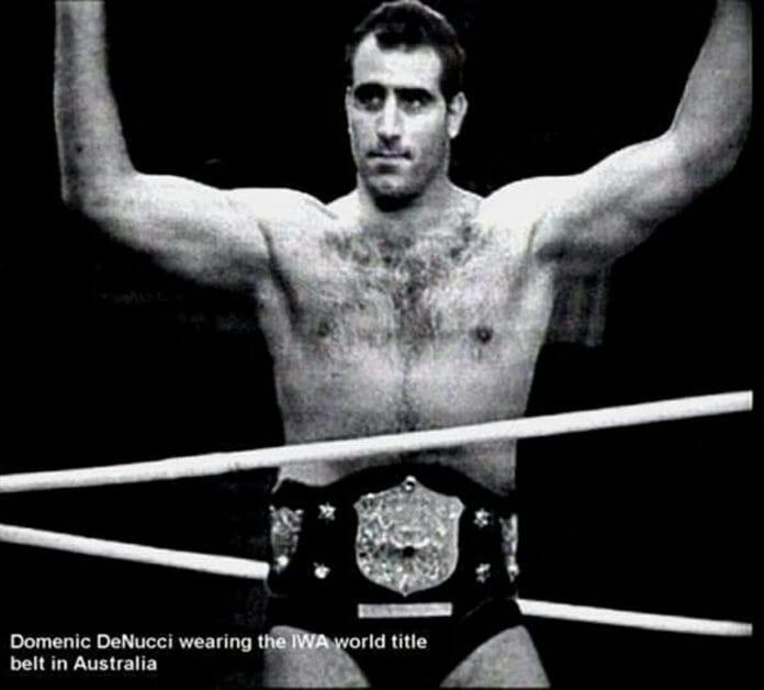 Dominic DeNucci with the IWA World Title in Australia.
