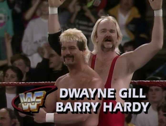 Duane Gill (sometimes competing as Dwayne Gill) got his opportunity in the WWF and worked as enhancement talent many times alongside his friend and trainer Barry Hardy.