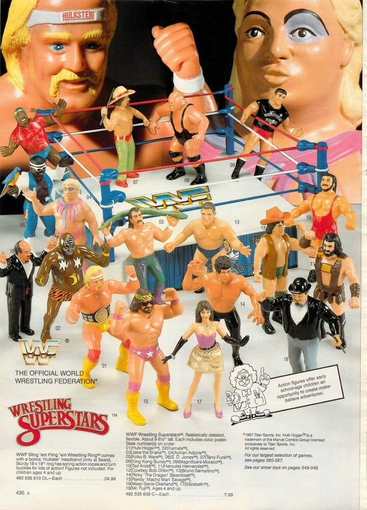 WWF Wrestling Superstars by LJN were the first action figures based on wrestlers of the WWF.