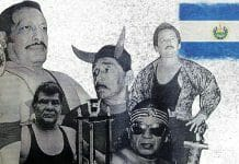Legends of El Salvador Wrestling: Mr. Flama, Bucanero, Sordo Mudo Cruz, Diablo Rojo, El Satánico, and Tulipan Negro.